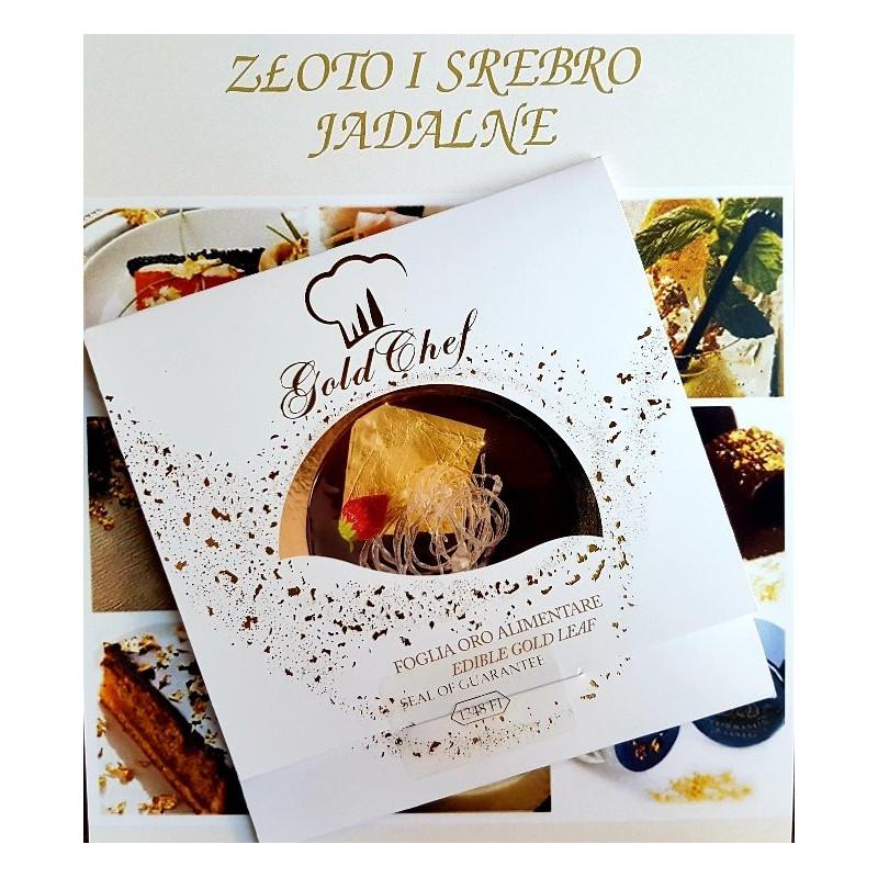 Złoto jadalne w książeczce 25 płatków 80 x 80 mm